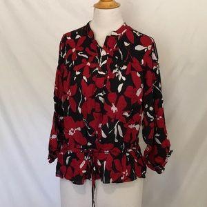 Anne Klein red & black tie waist top sz large